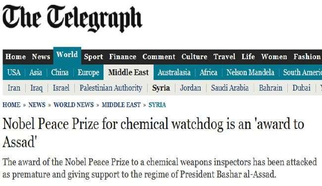 جایزه نوبل صلح به بشار اسد رسید!