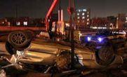 تصادف بامداد امروز در تهران / سقوط مرگبار بنز بر روی آر دی