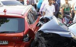 تصادف بنز و بی ام و در تهران