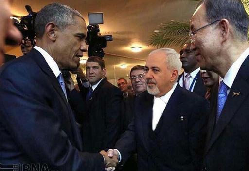 عکس جعلی دست دادن ظریف با اوباما