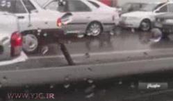 فیلم / تصادف 200 خودرو در اتوبان قزوین - کرج