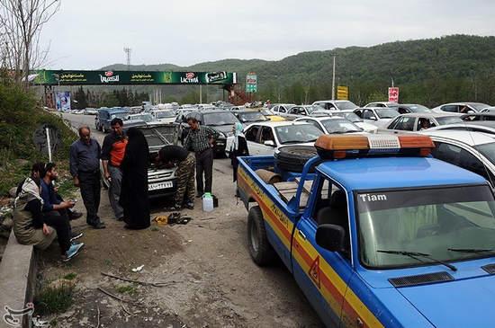ترافیک جاده هراز در دور جدید سفرهای نوروزی + عکس